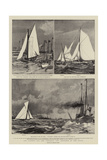 The Contest for the America Cup, Sketches at the Races Giclee Print by Charles Edward Dixon