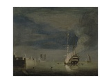 A Two-Decker on Fire at Night Off a Fort, C.1740 Giclee Print by Charles Brooking
