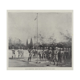British Bloemfontein, Hoisting the Union Jack Sent by Lady Roberts Giclee Print by Charles Auguste Loye