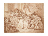 Party of Revellers (Graphite with Red Chalk on Off-White Paper, Edged with Black Ink) Giclee Print by Charles Nicolas II Cochin