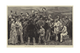 The Derby Day, Betting at Epsom, the Outsiders Giclee Print by Charles Green