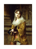 A Young Woman Outside a Church Giclee Print by Charles Louis Lucien Muller