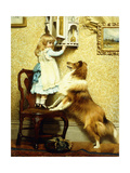 Little Girl and Her Sheltie, 1892 Giclee Print by Charles Burton Barber
