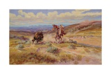 Spearing a Buffalo, 1925 Giclée-tryk af Charles Marion Russell
