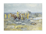Rainy Morning, 1904 (Watercolour and Gouache on Paper Laid Down on Paperboard) Giclee Print by Charles Marion Russell