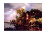Houses and a Windmill by a River with Boats and Fisherfolk Giclee Print by Claes Molenaer