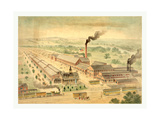 Bird's Eye View of Wason Car Manufacturing Co., Circa 1872, USA, America Giclee Print by Charles Parsons