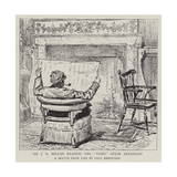 Sir J E Millais Reading the Times after Breakfast Giclee-trykk av Charles Paul Renouard