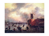 A Winter Skating Scene Giclee Print by Claes Molenaer