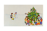 Carol Singers in Front of a Christmas Tree Giclee Print by Christian Kaempf