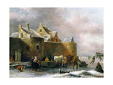 A Winter Landscape with Numerous Figures on a Frozen River Outside the Town Walls Giclee Print by Claes Molenaer