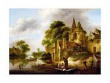 River Landscape with Peasants Near a Castle Giclee Print by Claes Molenaer