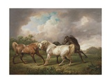 Three Horses in a Stormy Landscape Giclee Print by Charles Towne