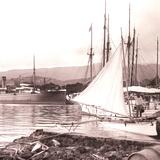 Papeetee Harbor, Tahiti, Late 1800s Photographic Print by Charles Gustave Spitz
