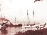 Papeetee Harbor, 1870s, Tahiti, Late 1800s Photographic Print by Charles Gustave Spitz