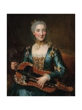 Portrait of a Lady Playing a Hurdy-Gurdy Giclee Print by Donat Nonotte