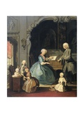 Family Group Near a Harpsichord, 1739 Giclee Print by Cornelis Troost
