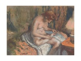 The Splinter (Woman Nursing Her Foot), C.1883-85 (Pastel and Charcoal over Monotype on Paper) Giclee Print by Edgar Degas