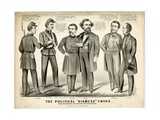 The Political Siamese Twins, the Offspring of Chicago Miscegenation, 1864 Giclee Print by  Currier & Ives