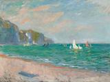 Boats Below the Pourville Cliffs; Bateaux Devant Les Falaises De Pourville, 1882 Giclee Print by Claude Monet