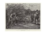 Ropemaking in Bavaria, a Scene in Landsberg Giclee Print by Clement Flower