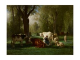 Landscape with Cattle and Sheep, 1852-8 Giclee Print by Constant-emile Troyon