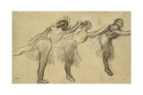 Three Studies of a Ballerina (Charcoal Rubbed and Touched with Pink and Brown Pastels on Thin Giclee Print by Edgar Degas