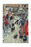 Flags on 57th Street, Winter 1918 Giclee Print by Childe Hassam