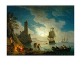 A Harbor in Moonlight, 1787 Giclée-Druck von Claude Joseph Vernet