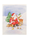 Santa and Friends Giclee Print by Diane Matthes