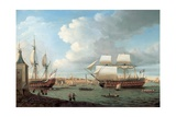 Foudroyant and Pegase Entering Portsmouth Harbour, 1782 Giclee Print by Dominic Serres