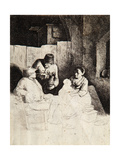 Mother and Child with Peasants in a Tavern Giclee Print by Cornelis Bega
