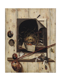 Trompe L'Oeil with Studio Wall and Vanitas Still Life, 1668 Giclee Print by Cornelis Norbertus Gysbrechts