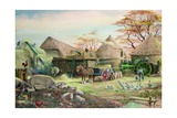 Threshing in Kent Giclee Print by Dudley Pout