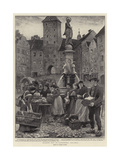 Market Day at Landsberg, Bavaria Giclee Print by Clement Flower