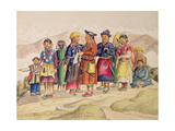 T602 Bhotias - Tibetans from Lhasa, the Capital of the Province of Utsang, Central Tibet, 1852-60 Giclee Print by Dr. Henry Ambrose Oldfield