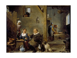 A Distillery with an Elderly Man Buying Gin from a Woman, C. 1640-49 Giclee Print by David the Younger Teniers