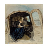 William Dyce (1806-64) in a Gondola Sketching in Venice, 1832 Giclee Print by David Scott