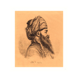 Profile Head of Oriental in Turban, 1820, Lithograph Giclee Print by Dominique Vivant Denon