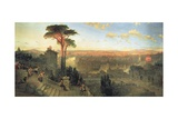 Rome, Sunset from the Convent of San Onofrio on Mount Janiculum, 1856 Giclee Print by David Roberts