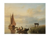 Fishing Vessels at Sunset Giclee Print by Cornelius Springer