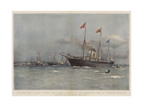 The New Royal Yacht Victoria and Albert, Launched by the Duchess of York at Pembroke Dockyard Giclee Print by Eduardo de Martino