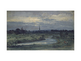 View from Pugin's House Near Salisbury (Oil on Millboard, Mounted as a Drawing) Giclee Print by David Charles Read