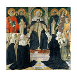 St. Catherine of Siena as the Spiritual Mother of the 2nd and 3rd Orders of St. Dominic Giclée-tryk af Cosimo Rosselli