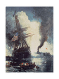 The Merrimac Sinks the Cumberland Giclee Print by Edward Moran