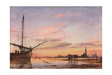 View across the Lagoon, Venice, Sunset, 1850 Giclee Print by Edward William Cooke