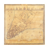 Map of Manhattan, C.1740 Giclee Print by David Grim