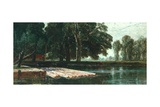 The Pond (River Scene) Giclee Print by Edwin Ellis