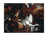 Still-Life with Dead Heron and Dog Barking at Bird Giclée-Druck von Dirk Valkenburg