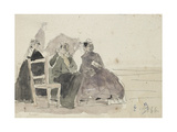 Three Women Seated on Chairs on a Beach Giclee Print by Eugene Louis Boudin